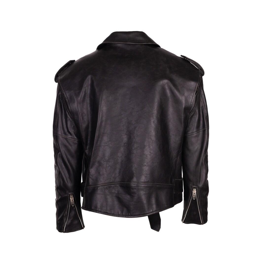 Shop Balenciaga Women s Black Leather Painted Logo BIker Jacket - 4 ... 67576c6ccb