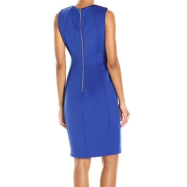 bf7feefc Shop Calvin Klein NEW Blue Royal Cutout Scuba Women's Size 4 Sheath Dress - Free  Shipping Today - Overstock - 20852373