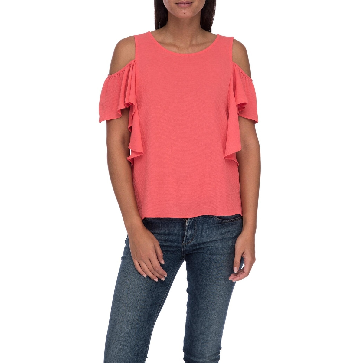 f71fb3cca3211 Shop Bobeau Cold Shoulder Ruffle Sleeve Top - Free Shipping On Orders Over   45 - Overstock - 20891864