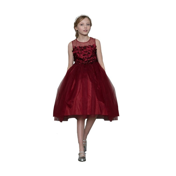 221ff1ee4d4 Shop Girls Burgundy 3D Flowers Bow Illusion Neck Junior Bridesmaid Dress -  Ships To Canada - Overstock - 21611243