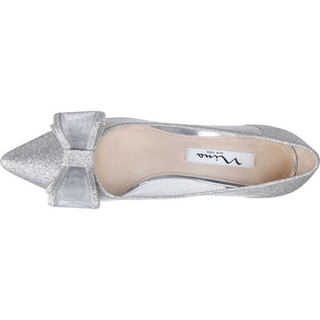 8a4c5cc9e27 Shop Nina Women s Bianca Kitten Heel Pump White Diamond Glitter Fabric -  Free Shipping Today - Overstock - 20766639