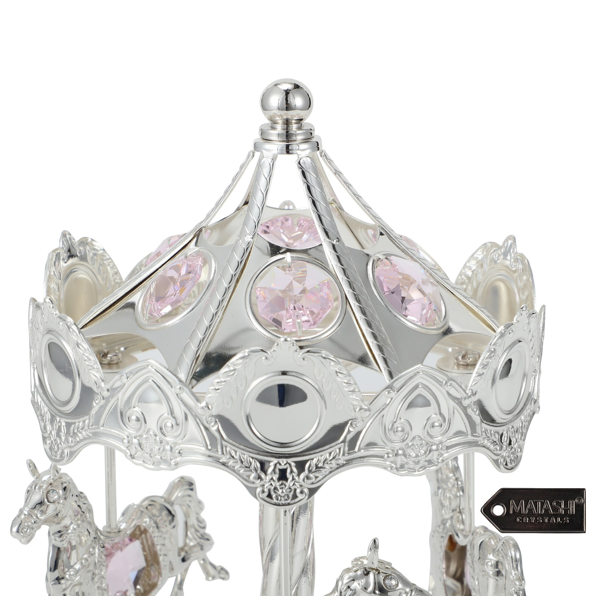 Matashi Silver Plated Carousel Horse Music Box Made With Genuine Pink Matashi Crystals Mctmsc3800 Overstock 10703509