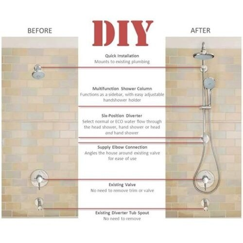 Grohe 26 122 Retro Fit 130 Shower System Upgrade Your Existing And Add A Rain Head Hand Free Shipping Today