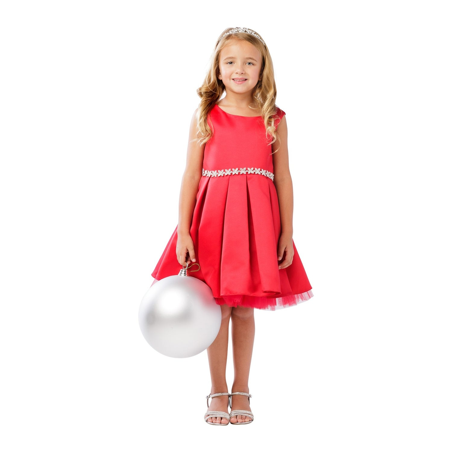 759e4e0c9 Shop Girls Red Rhinestone Tulle Satin Pleated Junior Bridesmaid Dress - Free  Shipping Today - Overstock.com - 21335540