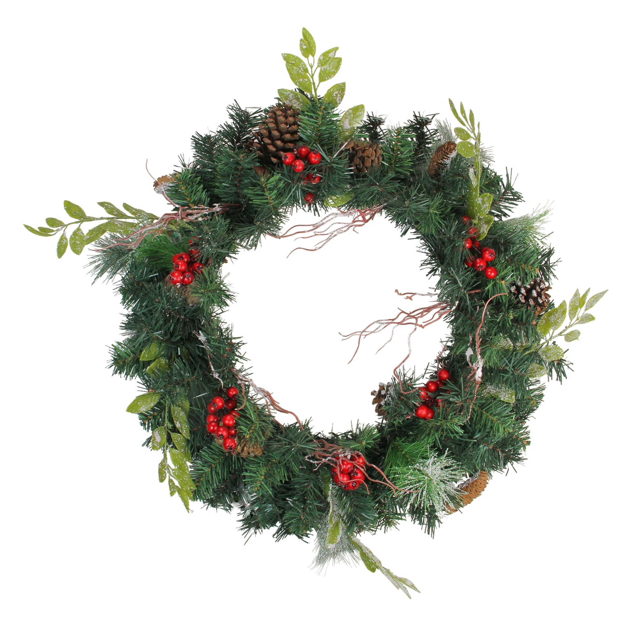 Shop Pre-Decorated Frosted Pinecone and Berry Artificial Christmas Wreath - 24 inch, Unlit - N/A - Free Shipping On Orders Over $45 - Overstock - 16544636
