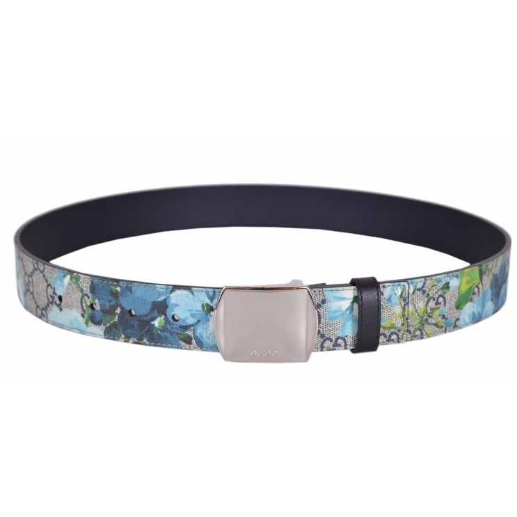 c8518f2bb Shop New Gucci Men's 424674 GG Supreme Canvas Blue Blooms Logo Buckle Belt  38 95 - Free Shipping Today - Overstock - 18945314