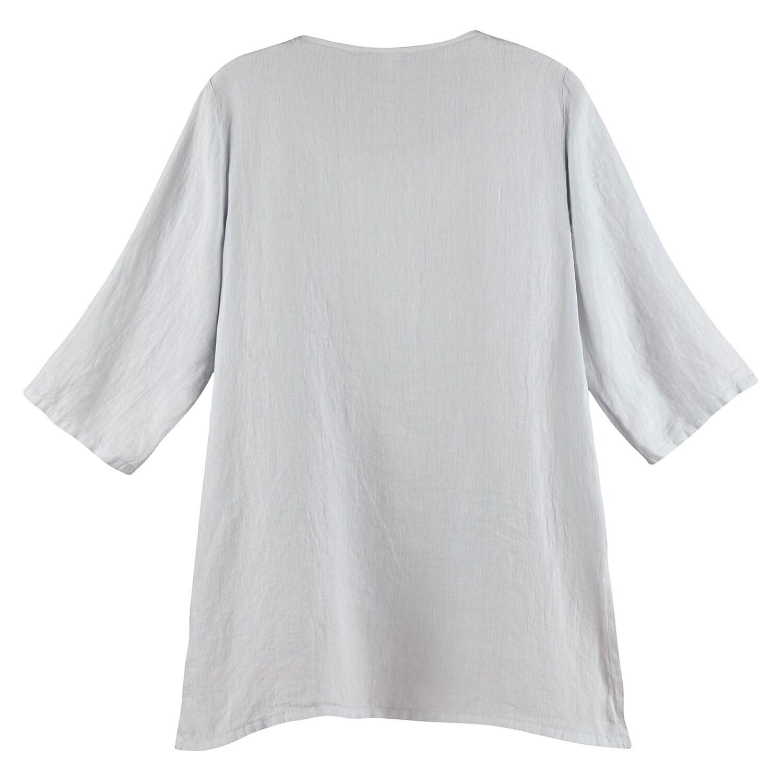 d4714aad7c2b04 Womens Grey Linen Blouse