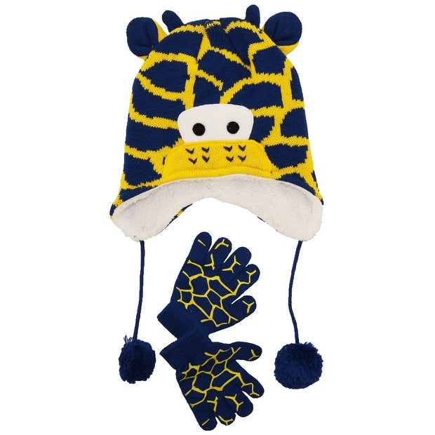 Shop Wippette Toddler Boys Winter Sherpa Lined Giraffe Micro Hat and Glove  Set 2T-4T - toddler girls - Free Shipping On Orders Over  45 - Overstock -  ... 9d56ed217c9