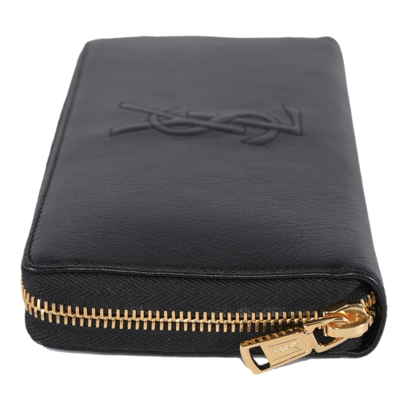 6265893f98e1 Shop Saint Laurent YSL 352904 Black Leather Belle de Jour Zip Around Wallet  - 7.5