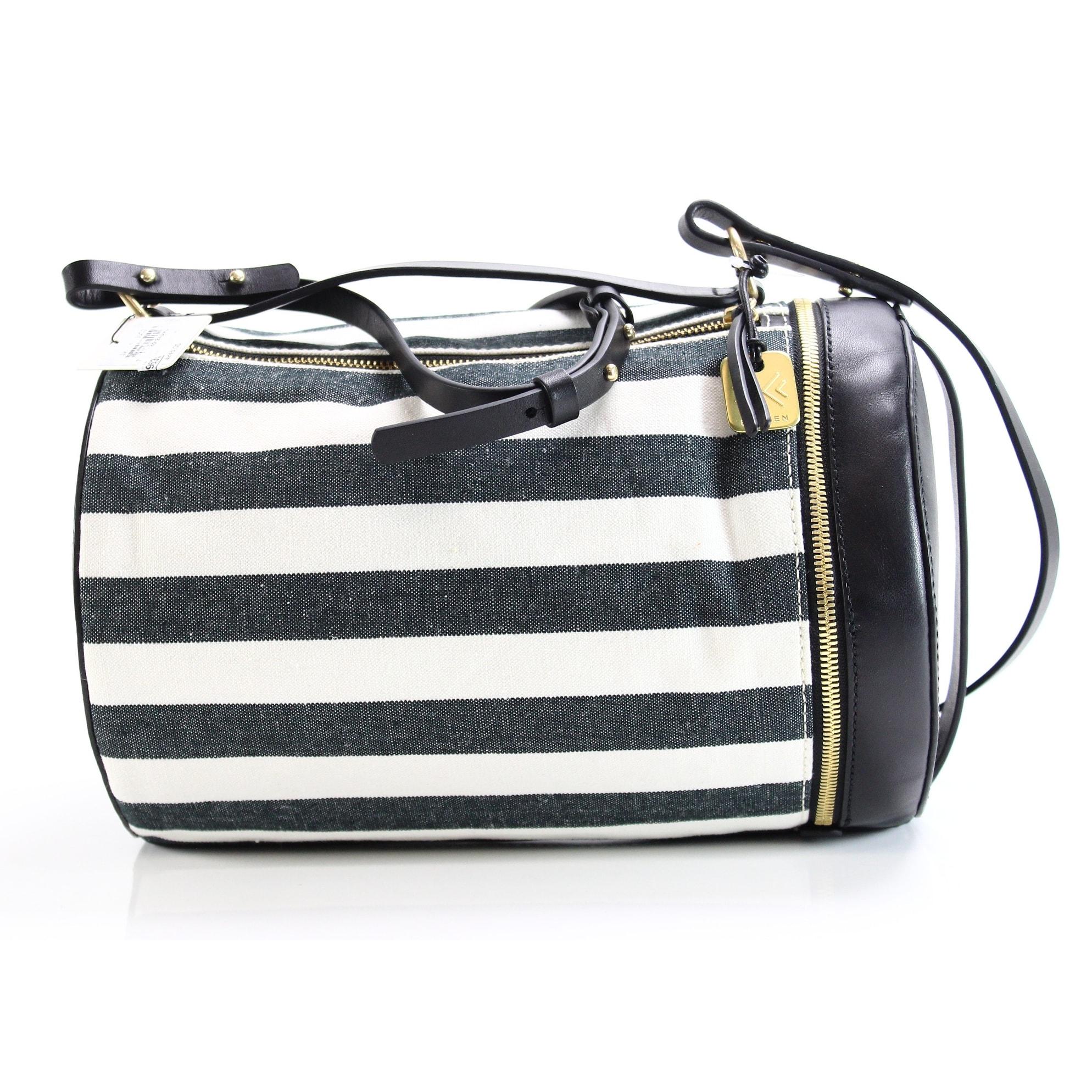 Skagen Black White Stripe Trisse Barrel Satchel Handbag Purse Free Shipping Today 25966105