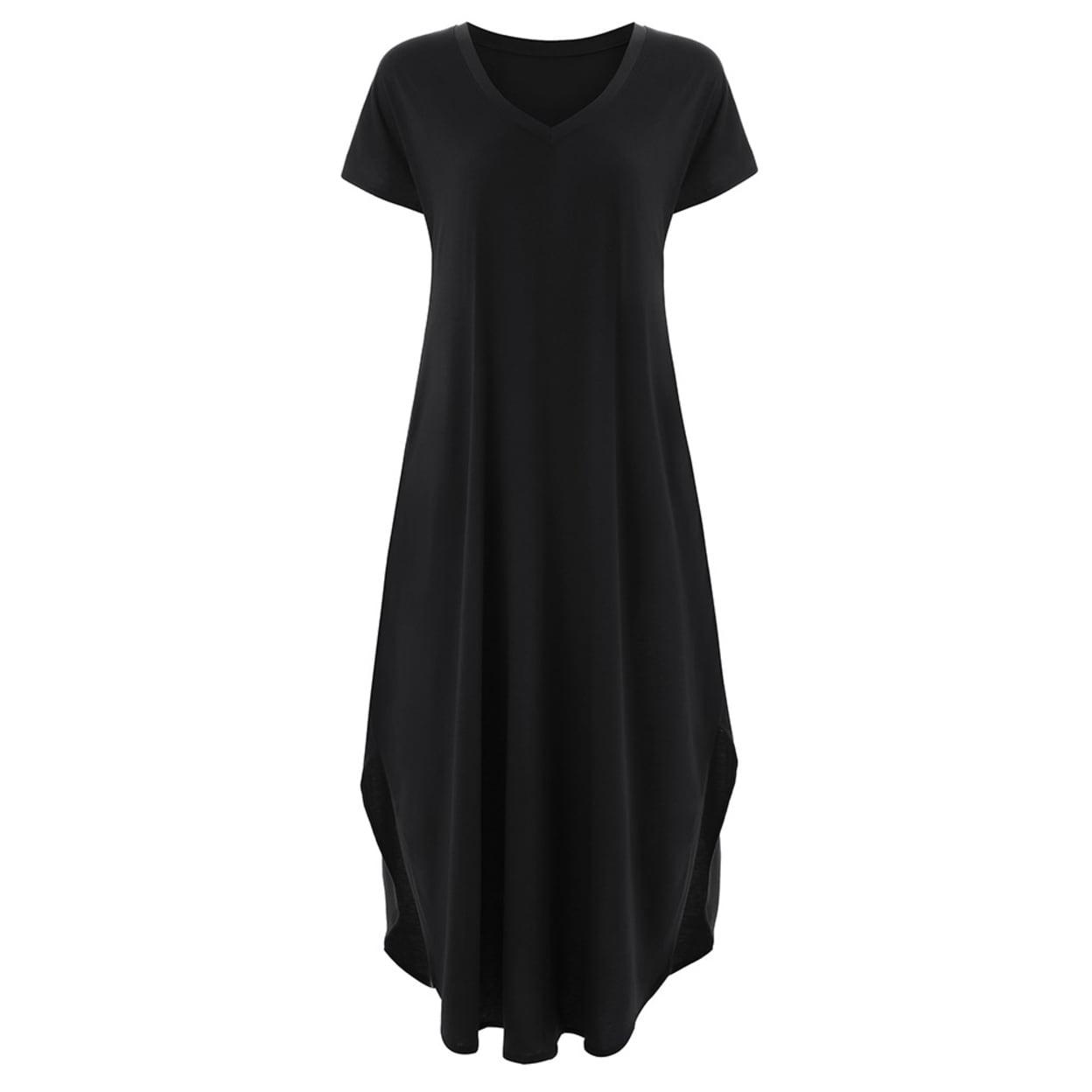... THE MYSTYLEMODE BLACK VELVET DEEP V NECK SLIT DRESS  new arrival 92fe8  e3400 Shop V-Neck Split Hem Pocketed Maxi Dress - On Sale ... e1ba04fff