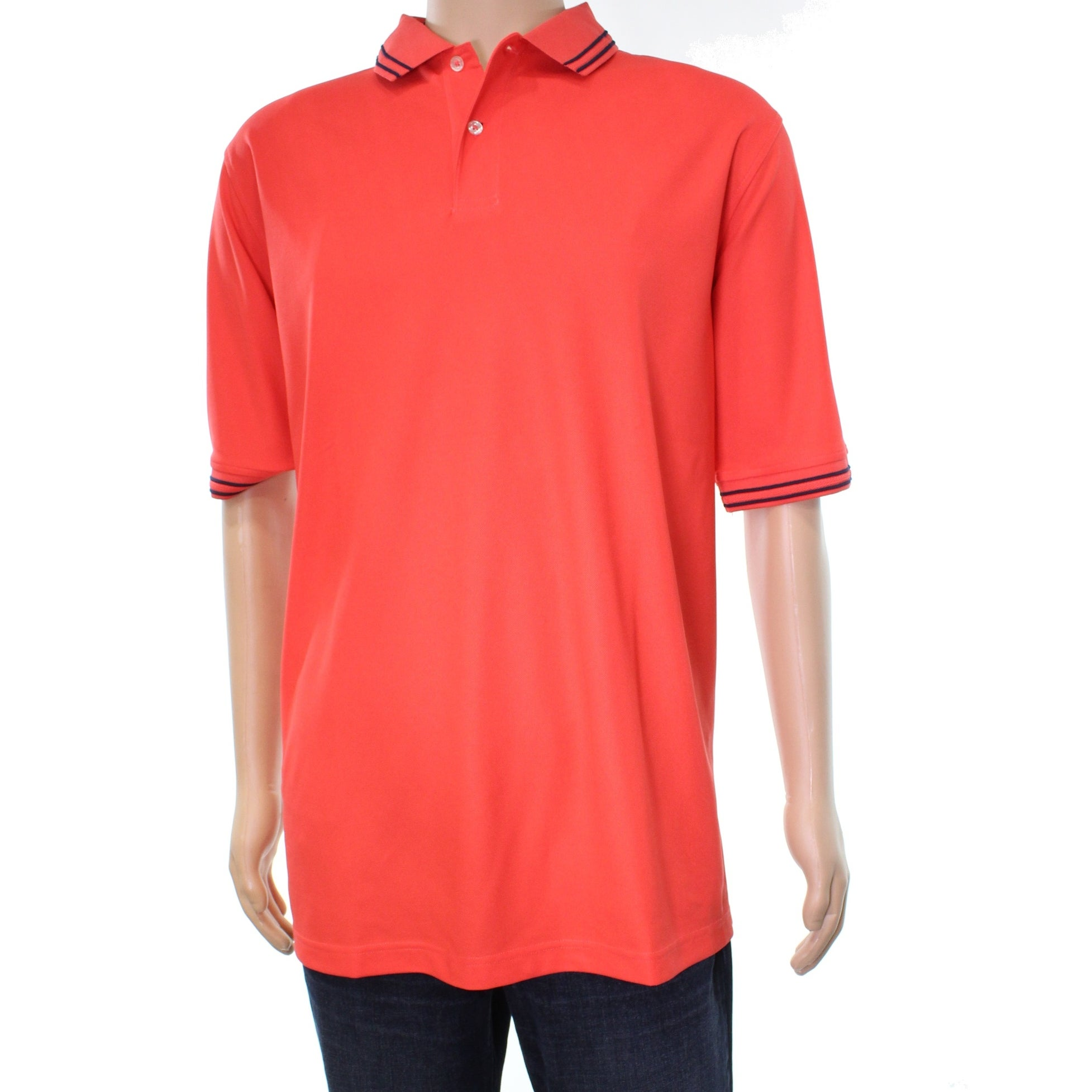Shop Club Room New Orange Lipstick Coral Mens Size 3xlt Polo Rugby