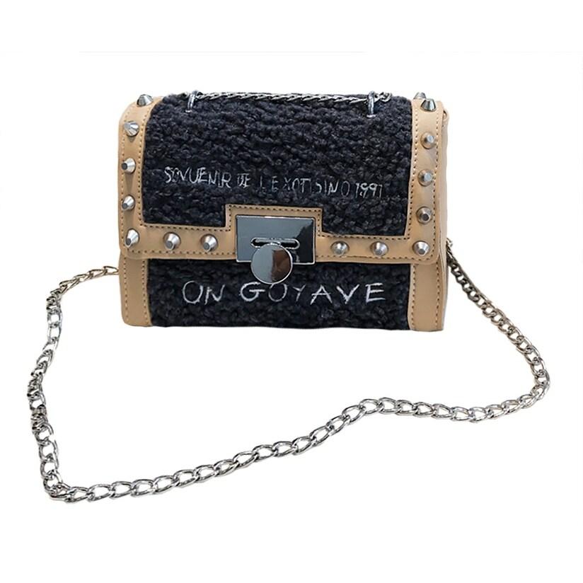 8e366ae5a9f Shop QZUnique Women s Envelope Faux Fur Chain Shoulder Handbag Rivet  Crossbody Message Bag - On Sale - Free Shipping On Orders Over  45 -  Overstock - ...
