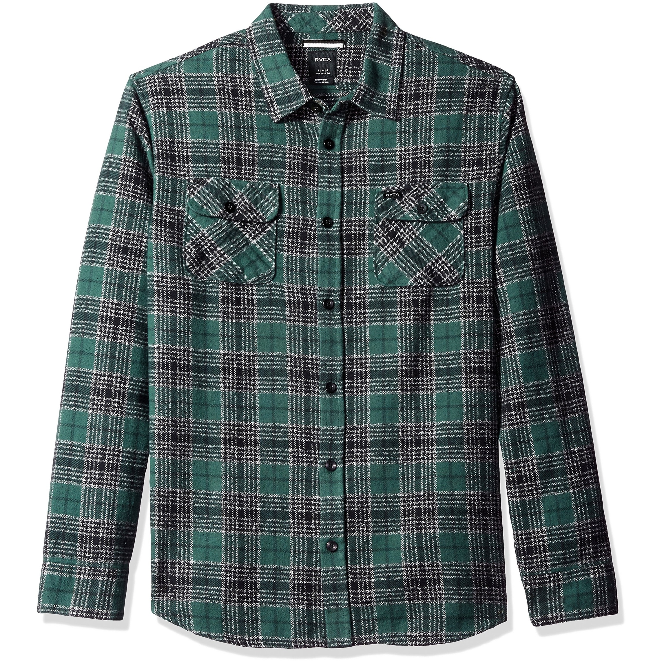 f726f4889a Shop RVCA NEW Green Mens Size Large L Button Down Plaid Lowland Shirt - Free  Shipping On Orders Over $45 - Overstock - 18756323