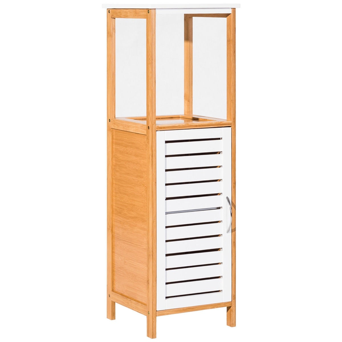 Costway Bamboo Bathroom Storage Rack Floor Cabinet Free Standing Shelf Towel Organizer On Shipping Today 21009971