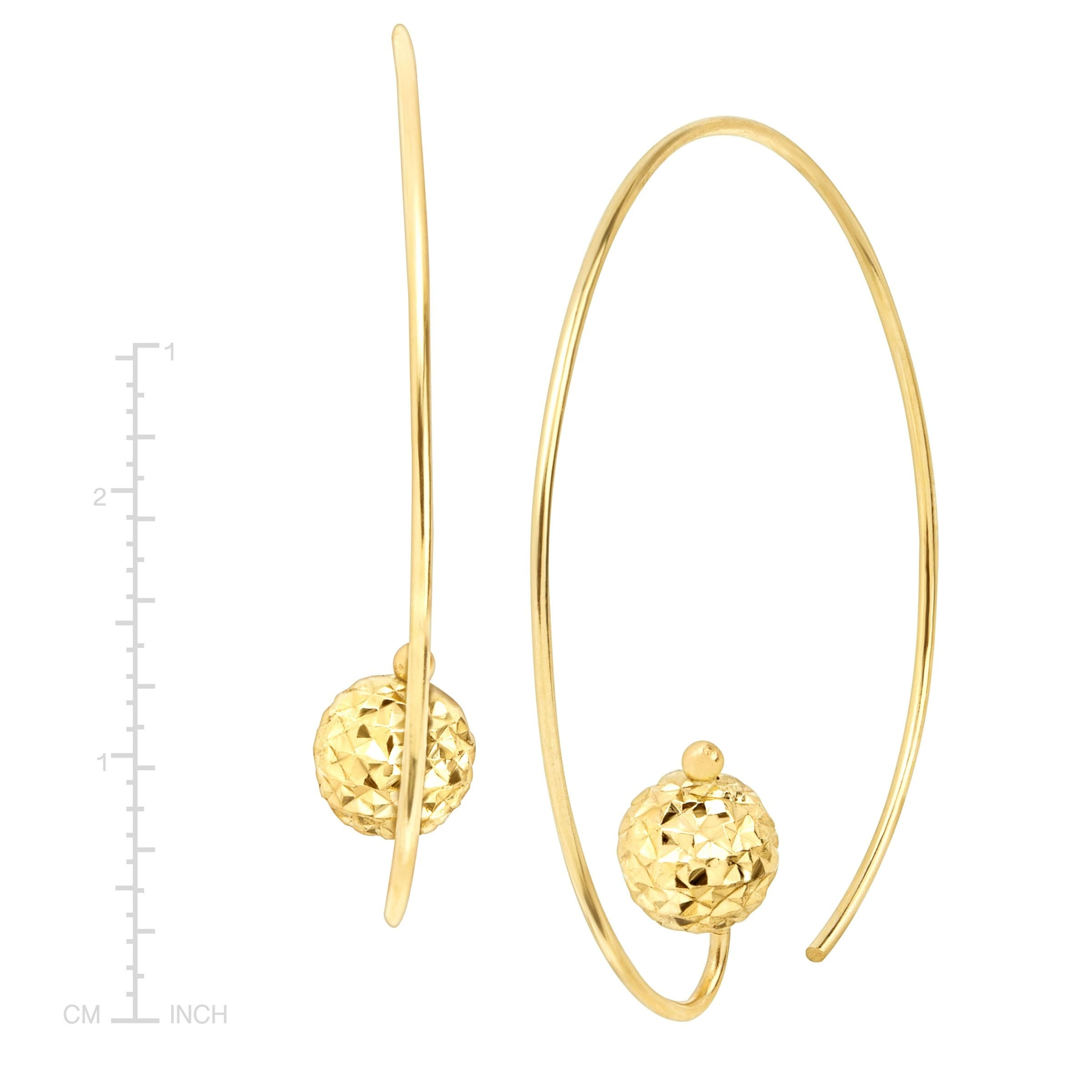 Shop Eternity Gold Wire Hoop Earrings with Textured Bead in 14K Gold ...