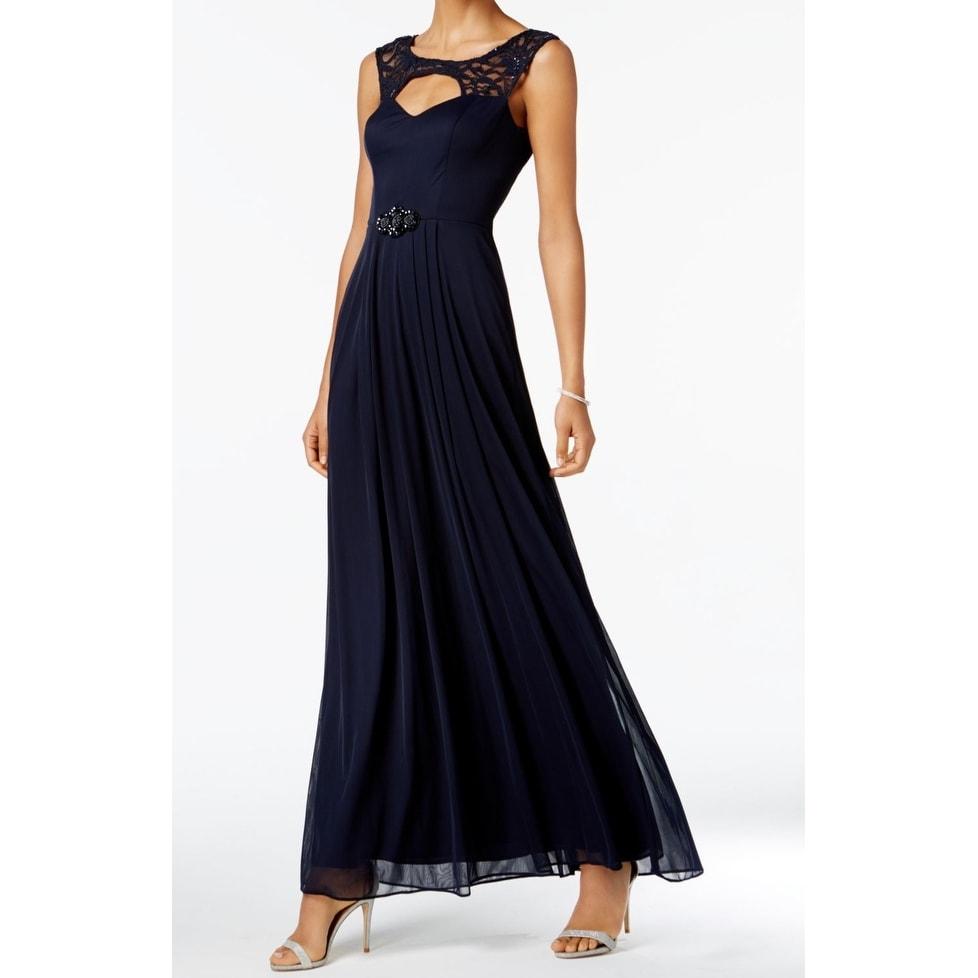108fc2b1d2a Shop Betsy   Adam Blue Navy Cutout Lace Women s Size 12 Maxi Gown ...