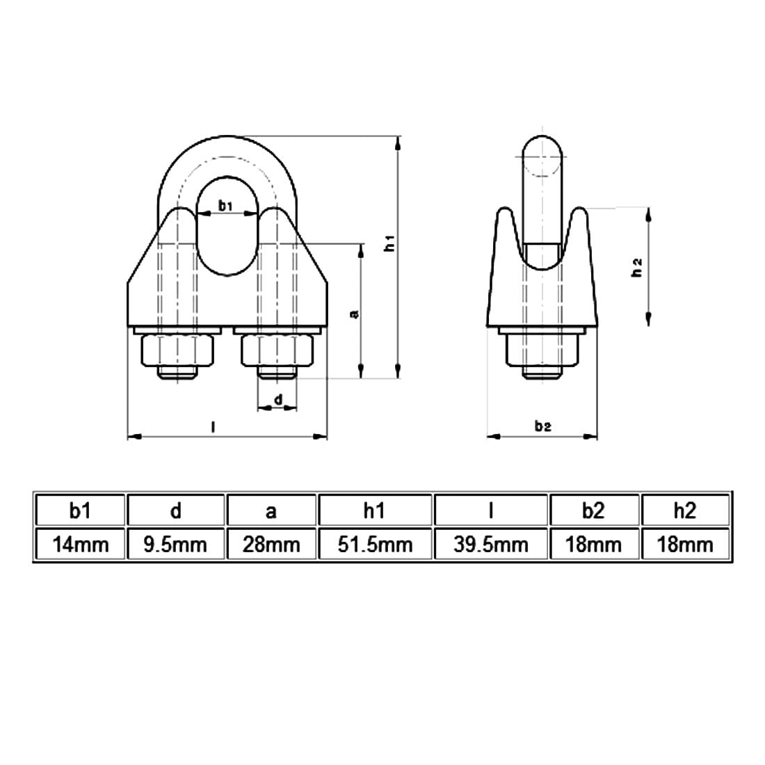 M12 304 Stainless Steel Saddle Clamp Cable Wire Rope Clip Fastener ...