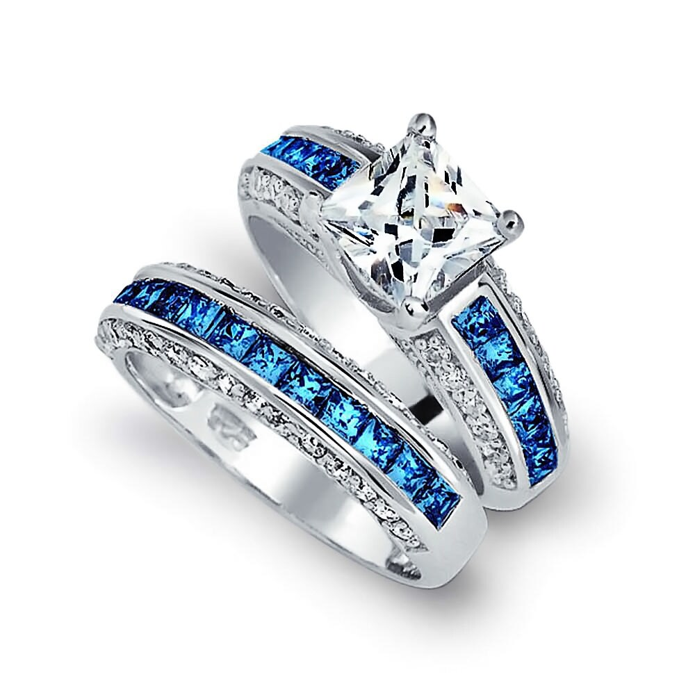 Bling Jewelry Blue CZ Princess Cut Wedding Ring Set Silver Free