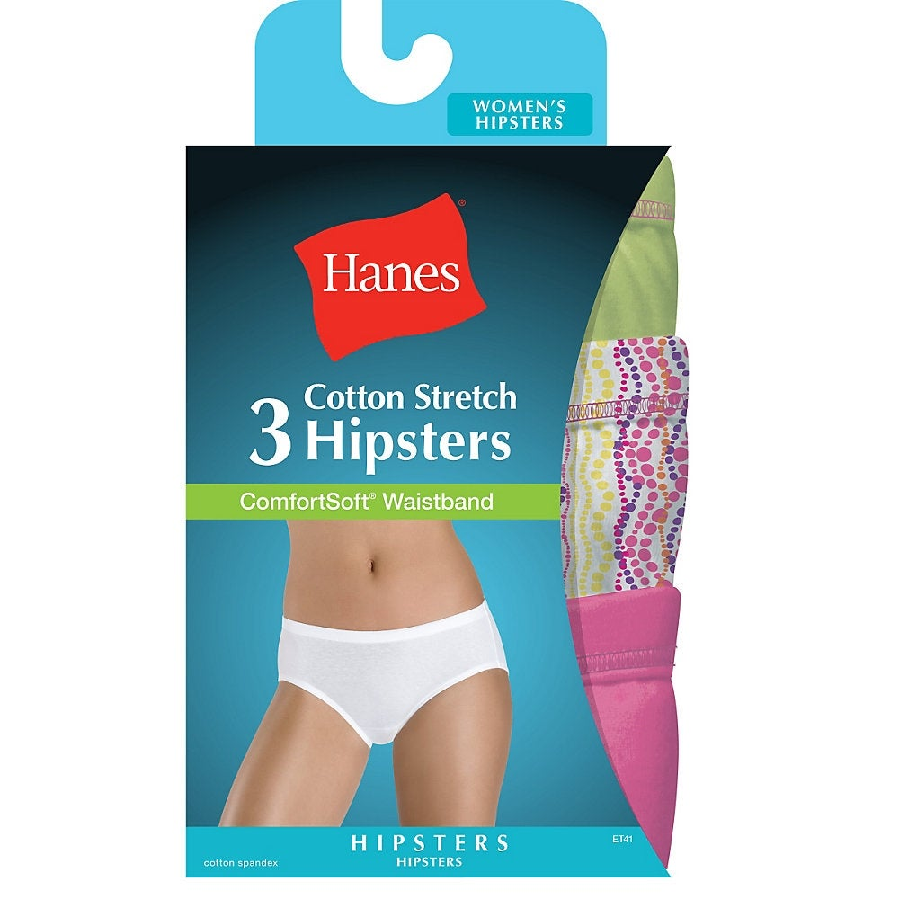 984c69259467 Shop Hanes Women's Cotton Stretch Hipster Panties with ComfortSoft®  Waistband 3-Pack - Size - 6 - Color - Assorted - Free Shipping On Orders  Over $45 ...