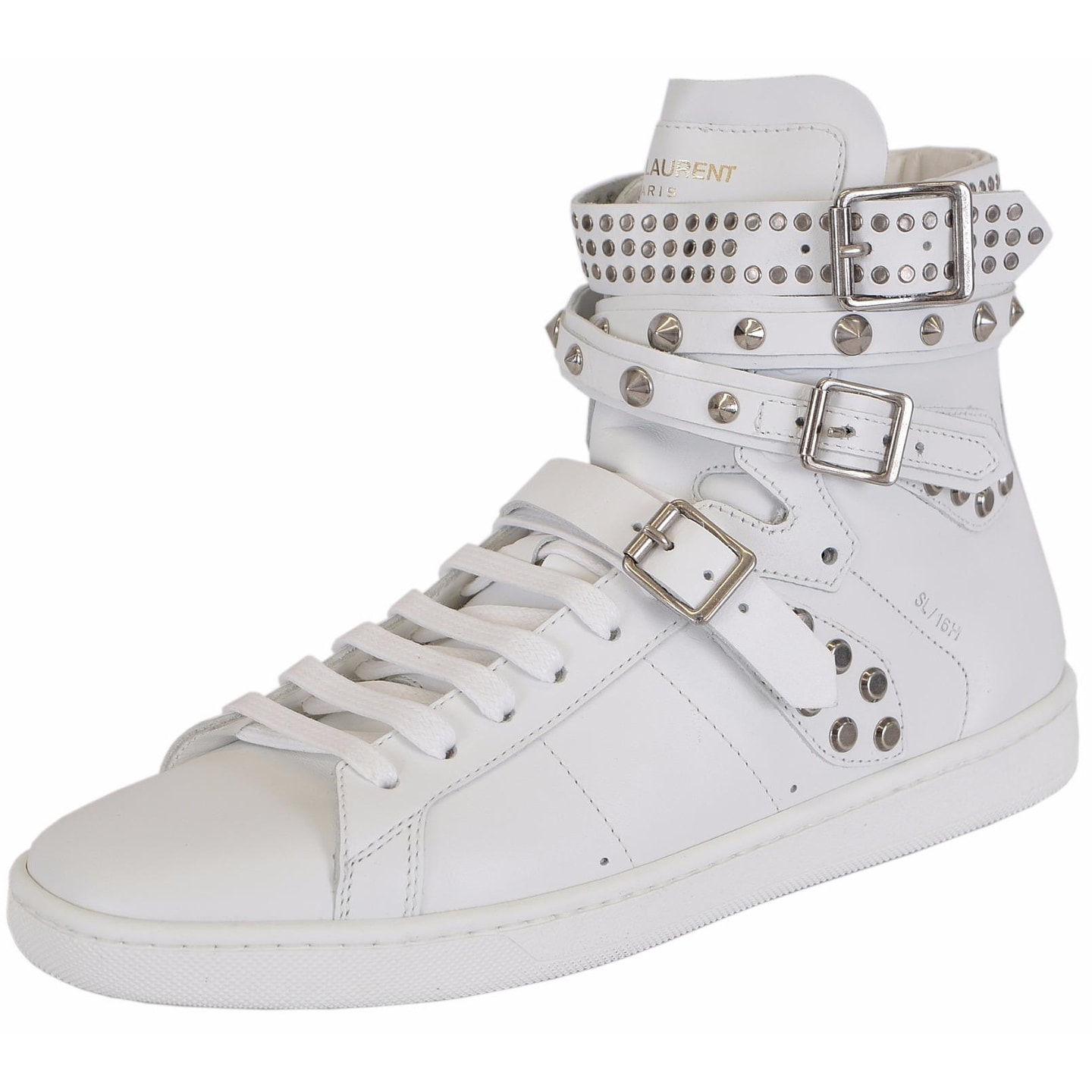 Shop Yves Saint Laurent YSL Women s White Studded Court Classic Hi Top Sneakers  Shoes - Free Shipping Today - Overstock - 14535024 2fa71aa7b