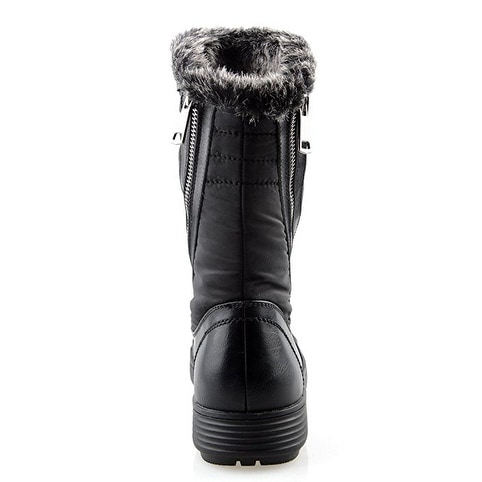 855a3a6f90e Eyekepper Women's Comfort Round Toe Mid Calf Flat Ankle High Winter Fully  Fur Lined Zipper Stacked Snow Boots Black