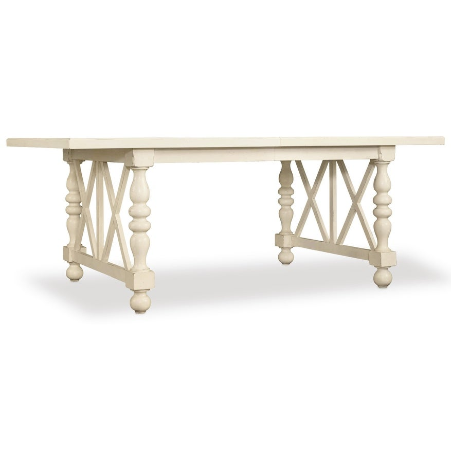 Furniture 5900 75200 Sandcastle 80 Long Rubberwood Coastal Style Dining Table With Two 18 Leaves And Birch Veneer