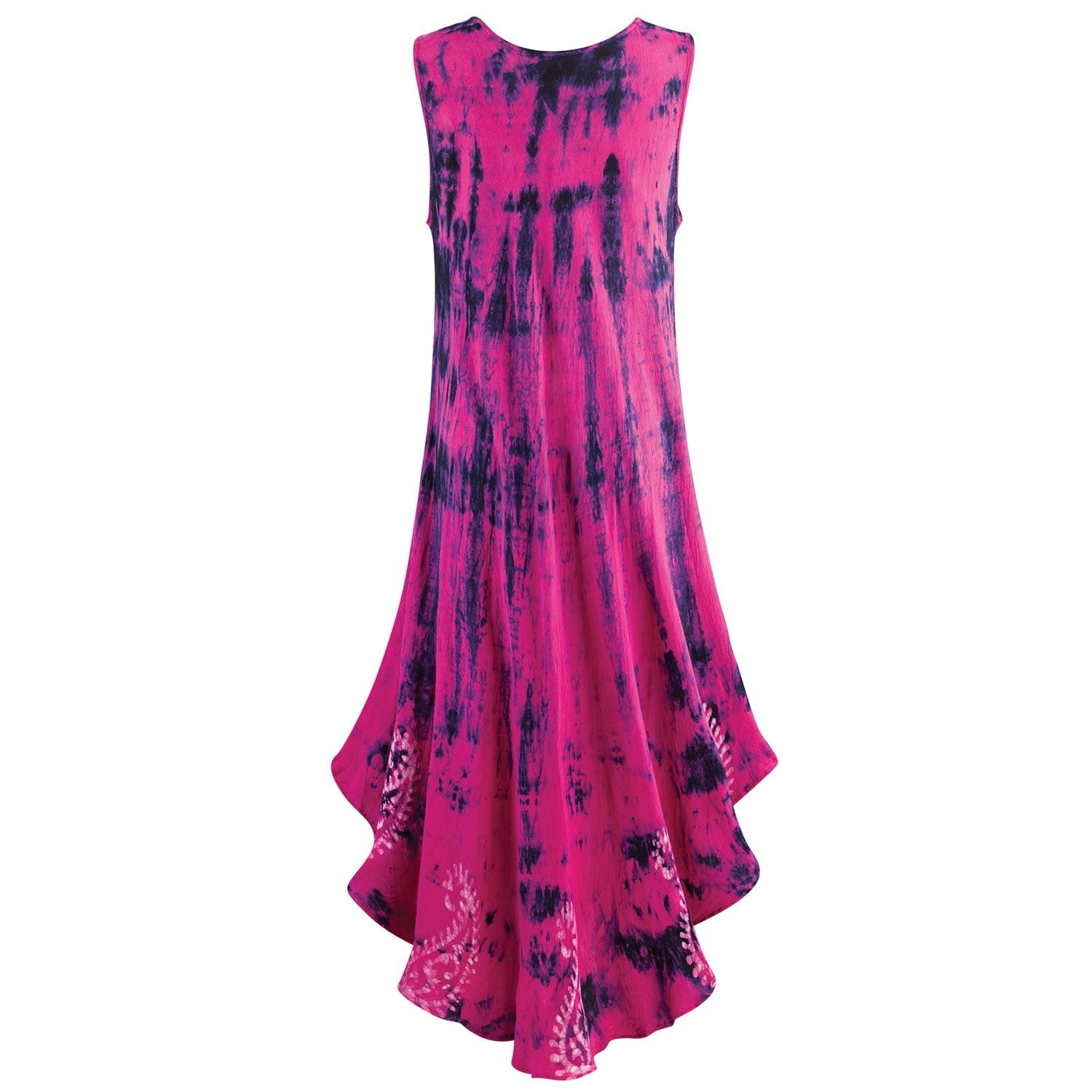 df88b3bb4e9 Shop Catalog Classics Women s Hot Pink   Navy Tie-Dye Sundress -Midi Dress  Hi-Low Hem - On Sale - Free Shipping On Orders Over  45 - Overstock -  22702619