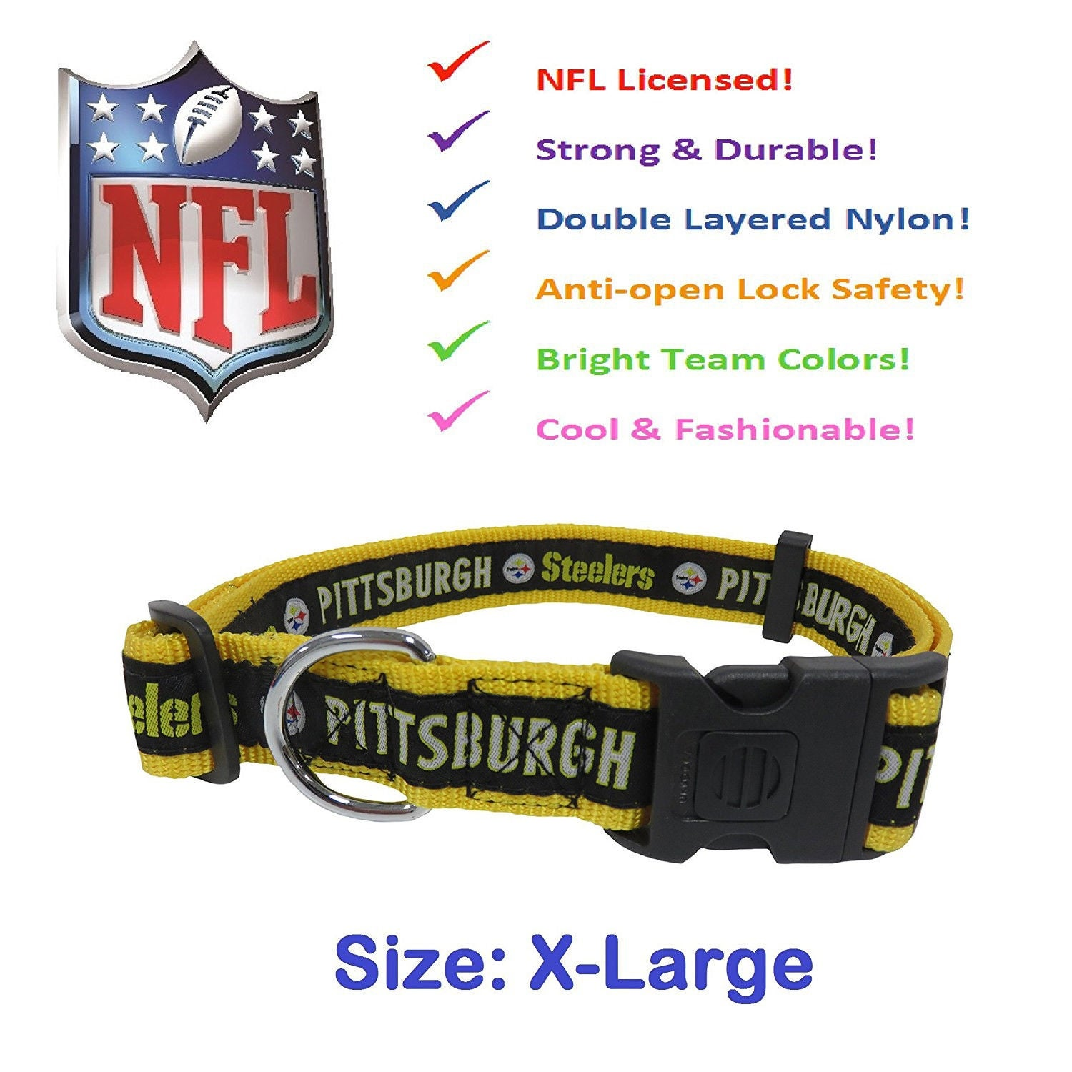 Shop NFL Pittsburgh Steelers Pet Collar - On Sale - Free Shipping On Orders  Over  45 - Overstock.com - 12400675 861d2aeee