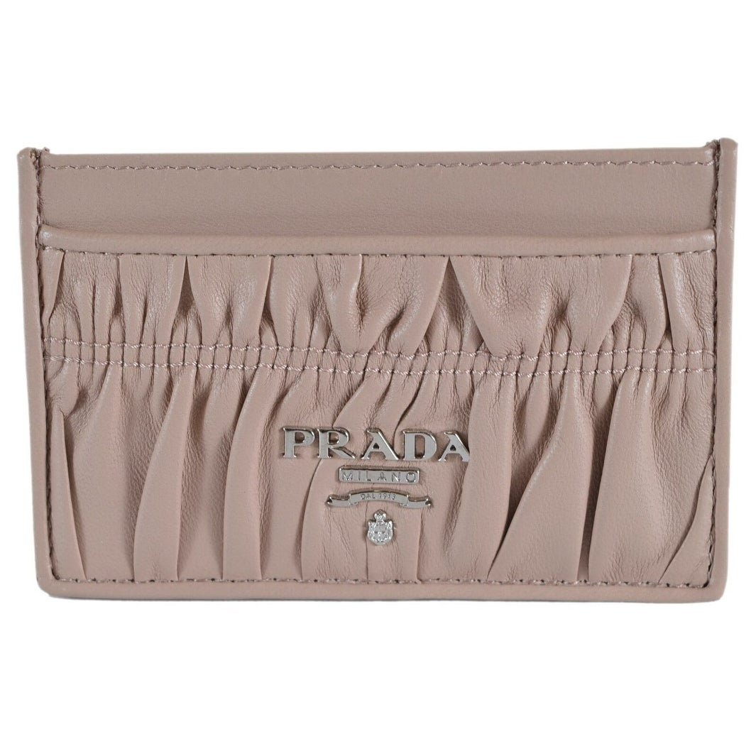 56cfd9d6 Prada Women's 1MC208 Cipria Pink Calf Leather Metal Card Case ID Wallet - S