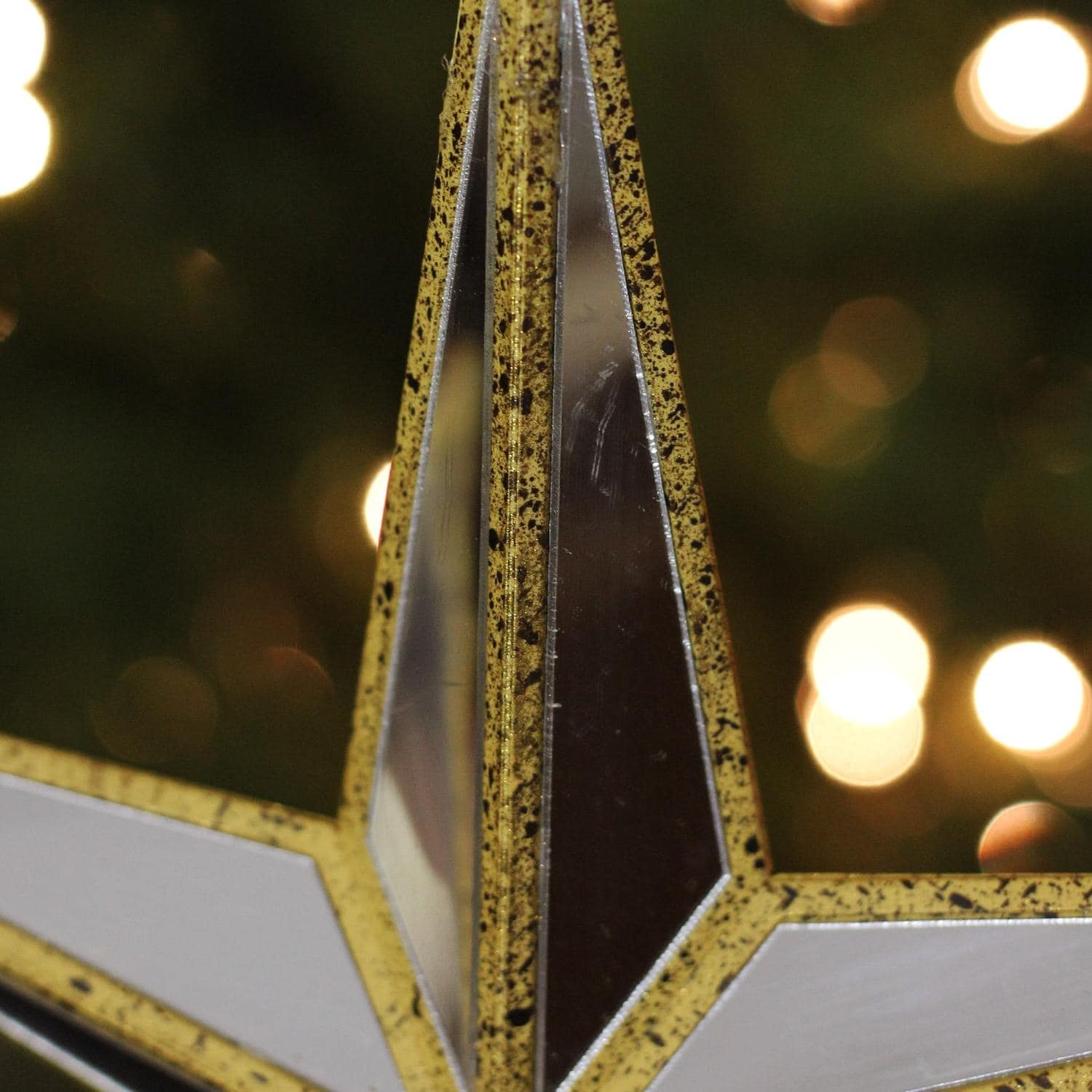"0d664e1323cbf Shop 14"" Gilded White Christmas Gold Mirrored Star Tree Topper - Unlit -  Free Shipping On Orders Over  45 - Overstock - 16956777"