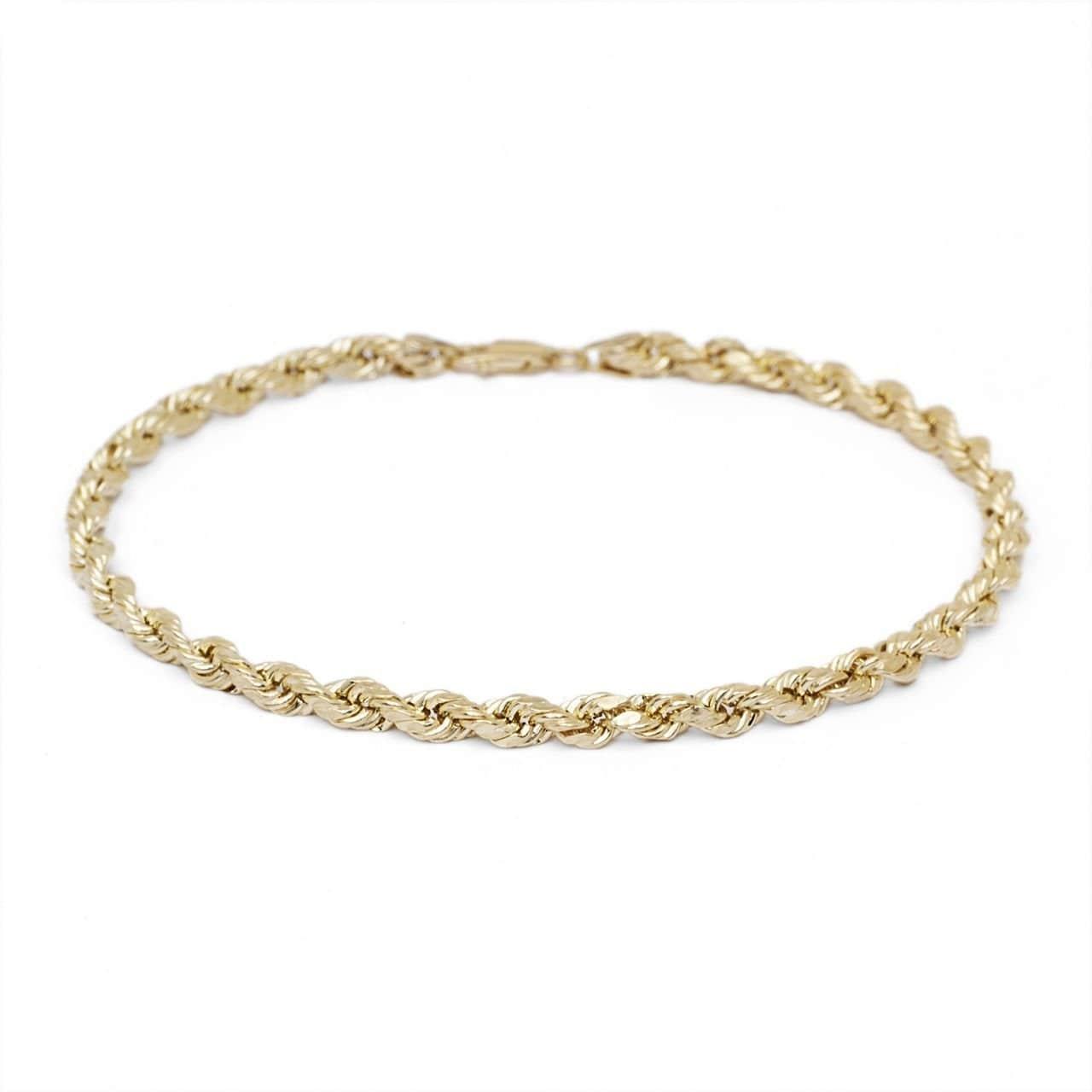 51ed2cd2882aa Mcs Jewelry Inc 14 KARAT YELLOW GOLD SOLID DIAMOND CUT ROPE CHAIN BRACELET  (2.5MM)