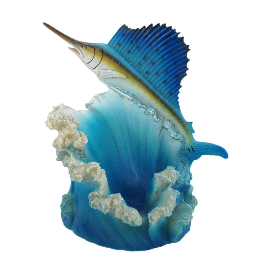 Shop Hand Painted Blue Sailfish Fish Wine Bottle Holder Kitchen ...
