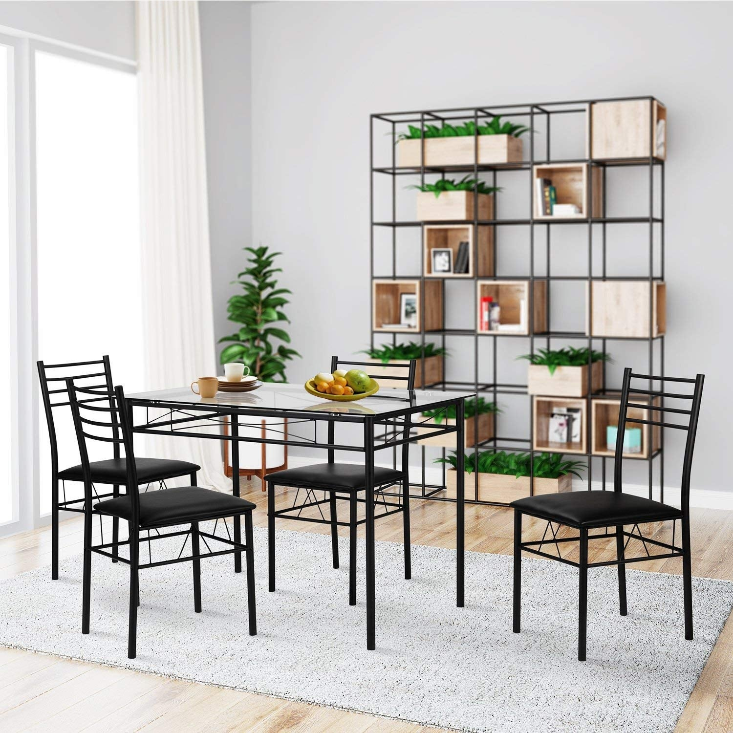 Shop vecelo glass dining table set with 4 chairs kitchen table set free shipping today overstock com 13023443