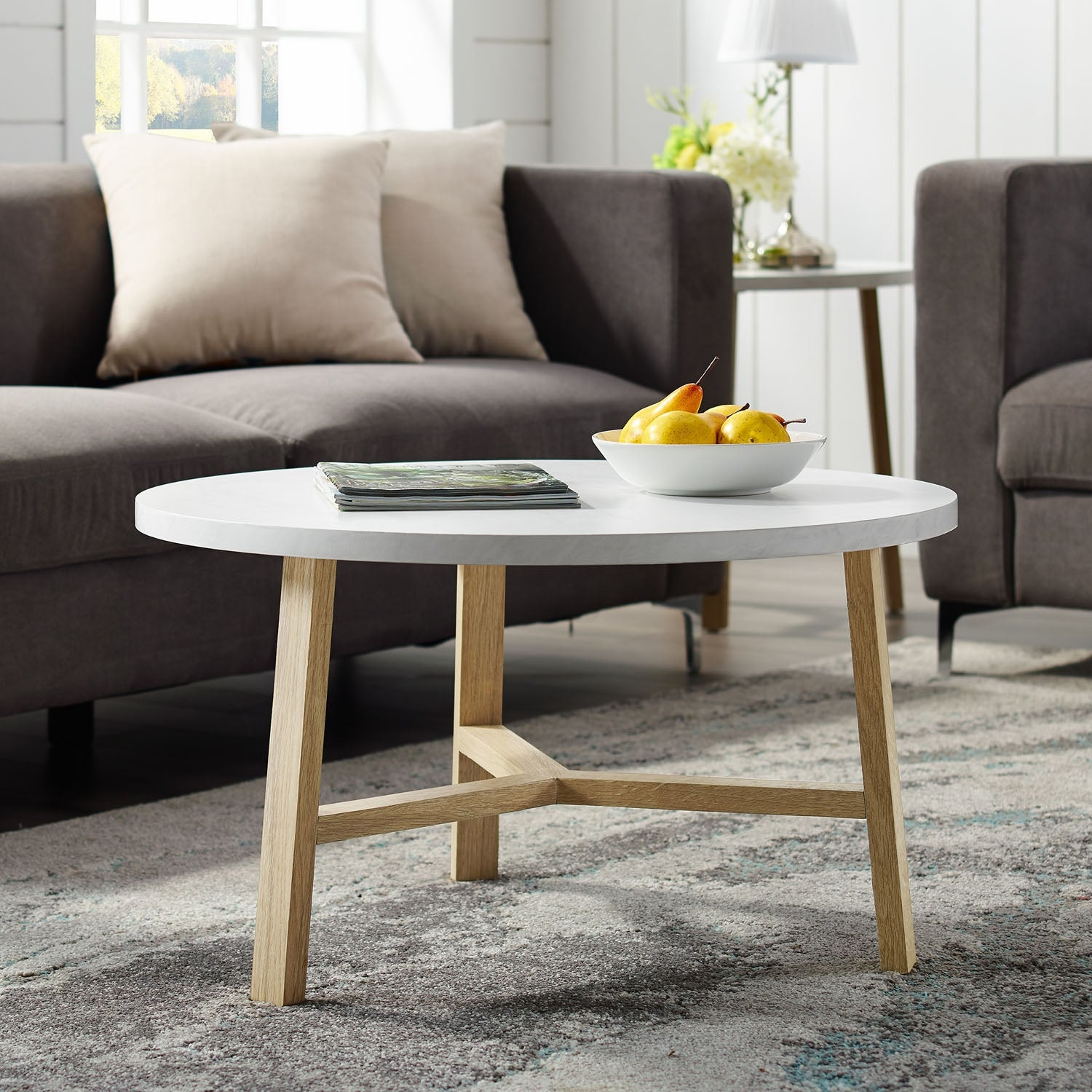 Shop Offex 30 Mid Century Round Coffee Table In 2 Tone Finish