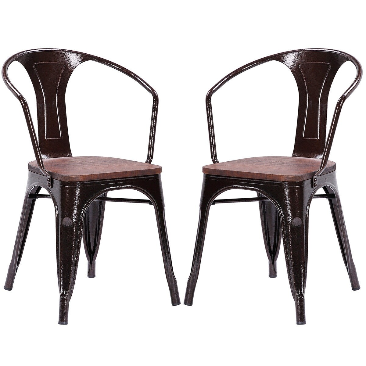 Shop Gymax Set Of 2 Armchair Stool Dining Chair Metal Wood Home