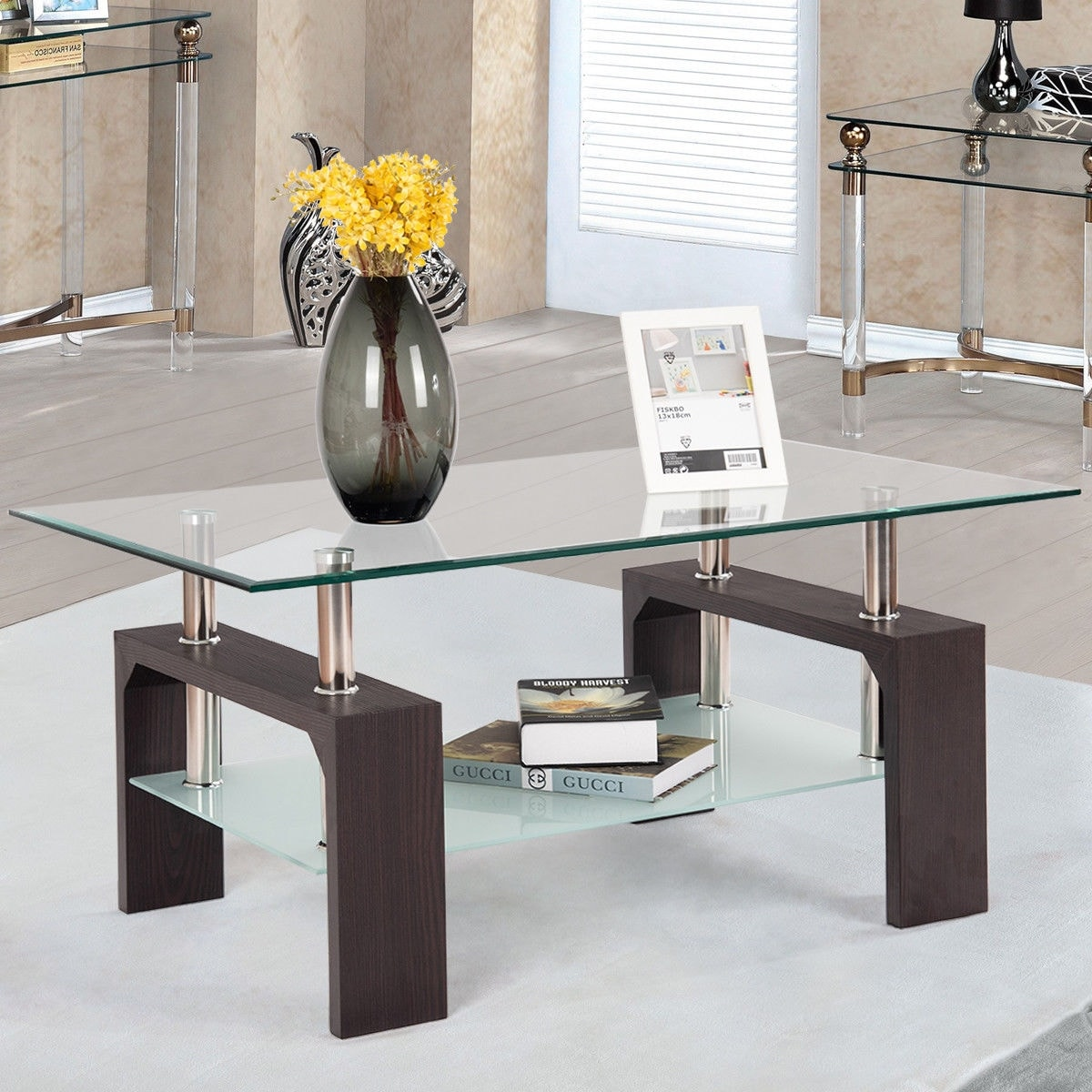 Costway Rectangular Tempered Glass Coffee Table w/Shelf Wood Living ...