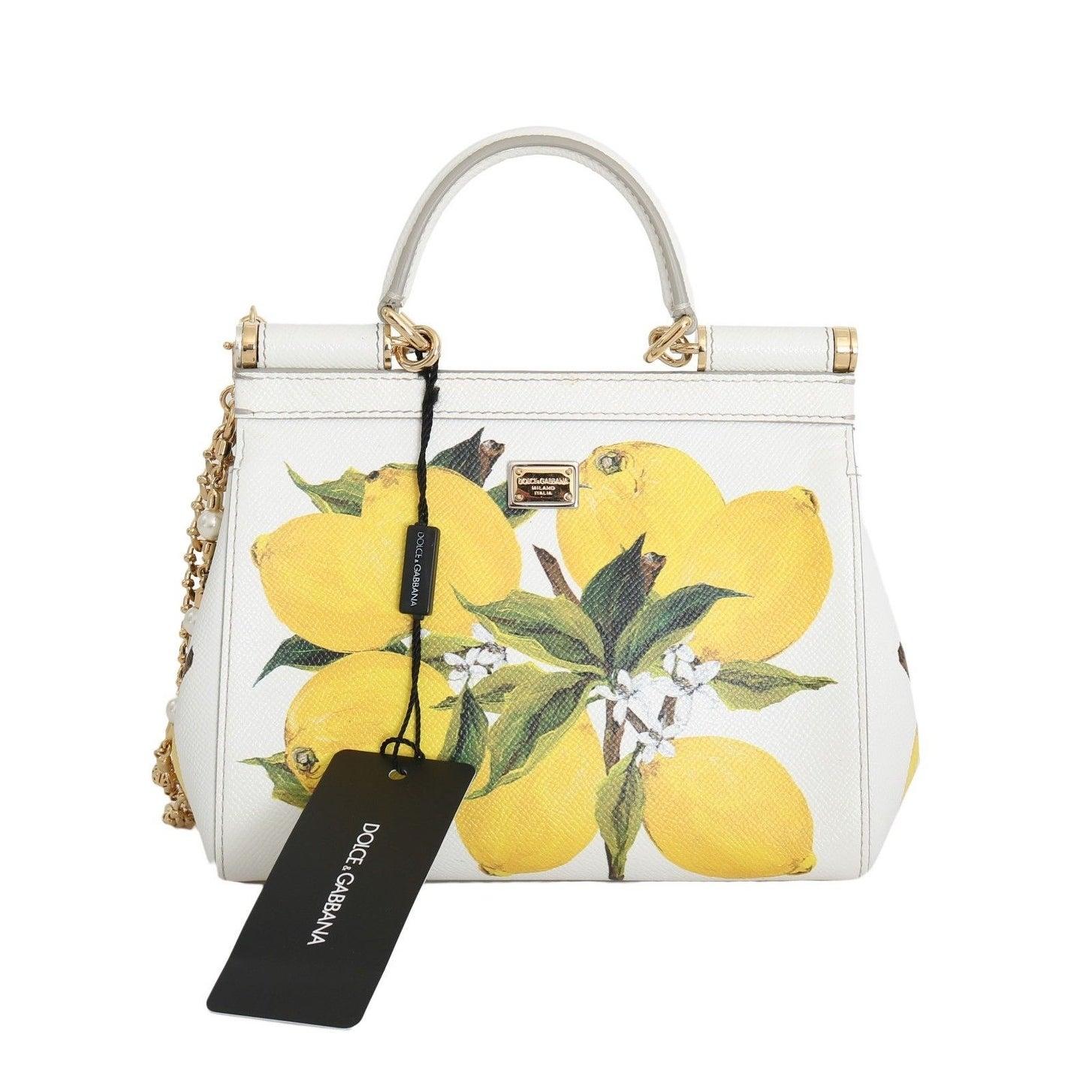 441740e646 Shop Dolce   Gabbana MISS SICILY Satchel White Lemon Print Leather Handbag  - Free Shipping Today - Overstock - 21178164