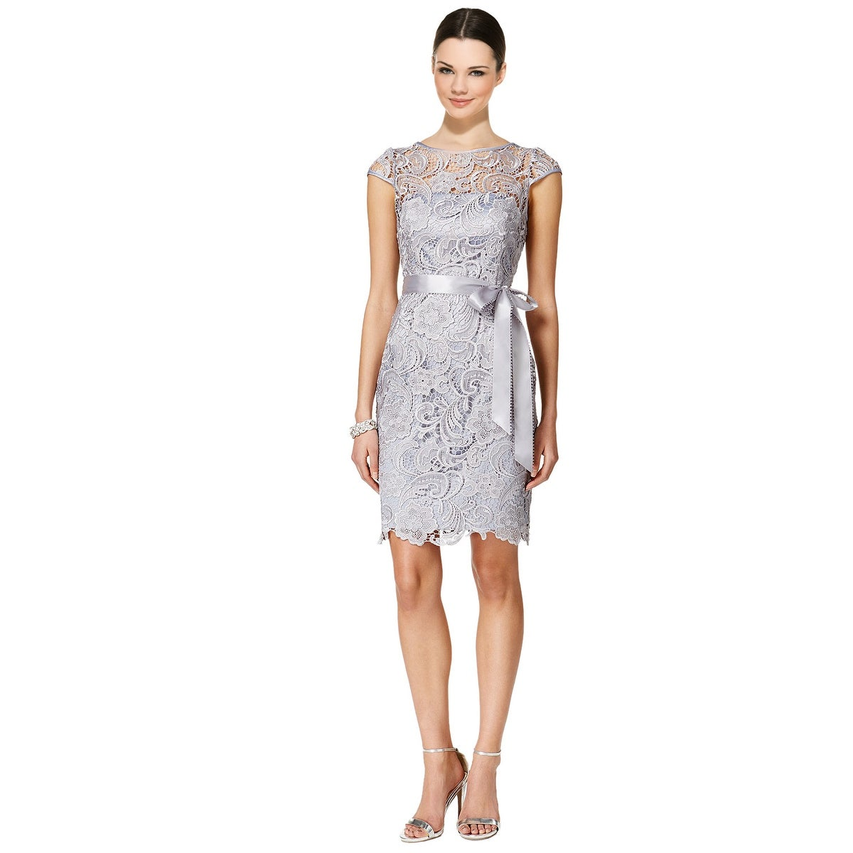 Shop Adrianna Papell Cap-Sleeve Illusion Lace Sheath Dress - 14 ...