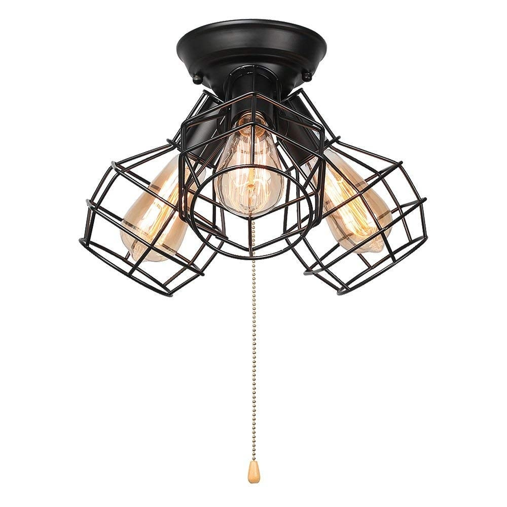 3 light vintage industrial wire cage pull string ceiling light fixture