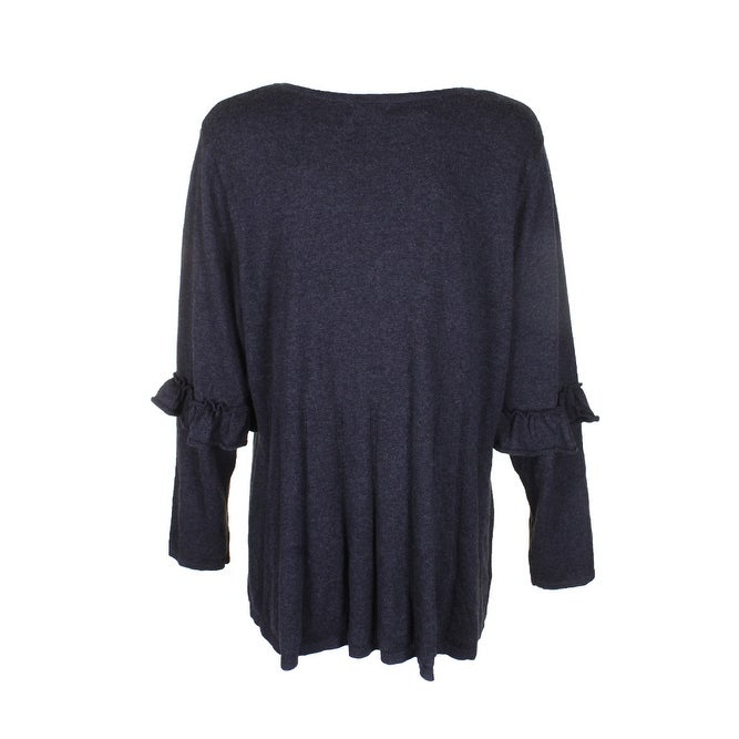 967f5b6c0 Style Co Plus Size Dark Grey Ruffled-Sleeve Pleat V-Neck Long Sleeve  Sweater 3X