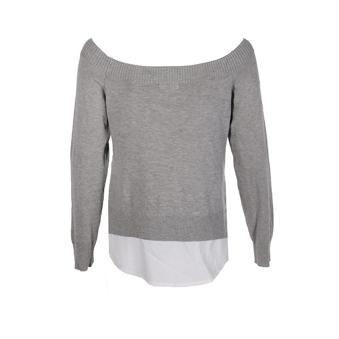 d7882e4189 Shop Maison Jules Grey Layered Look Off-The-Shoulder Sweater S - Free  Shipping On Orders Over  45 - Overstock - 24195426