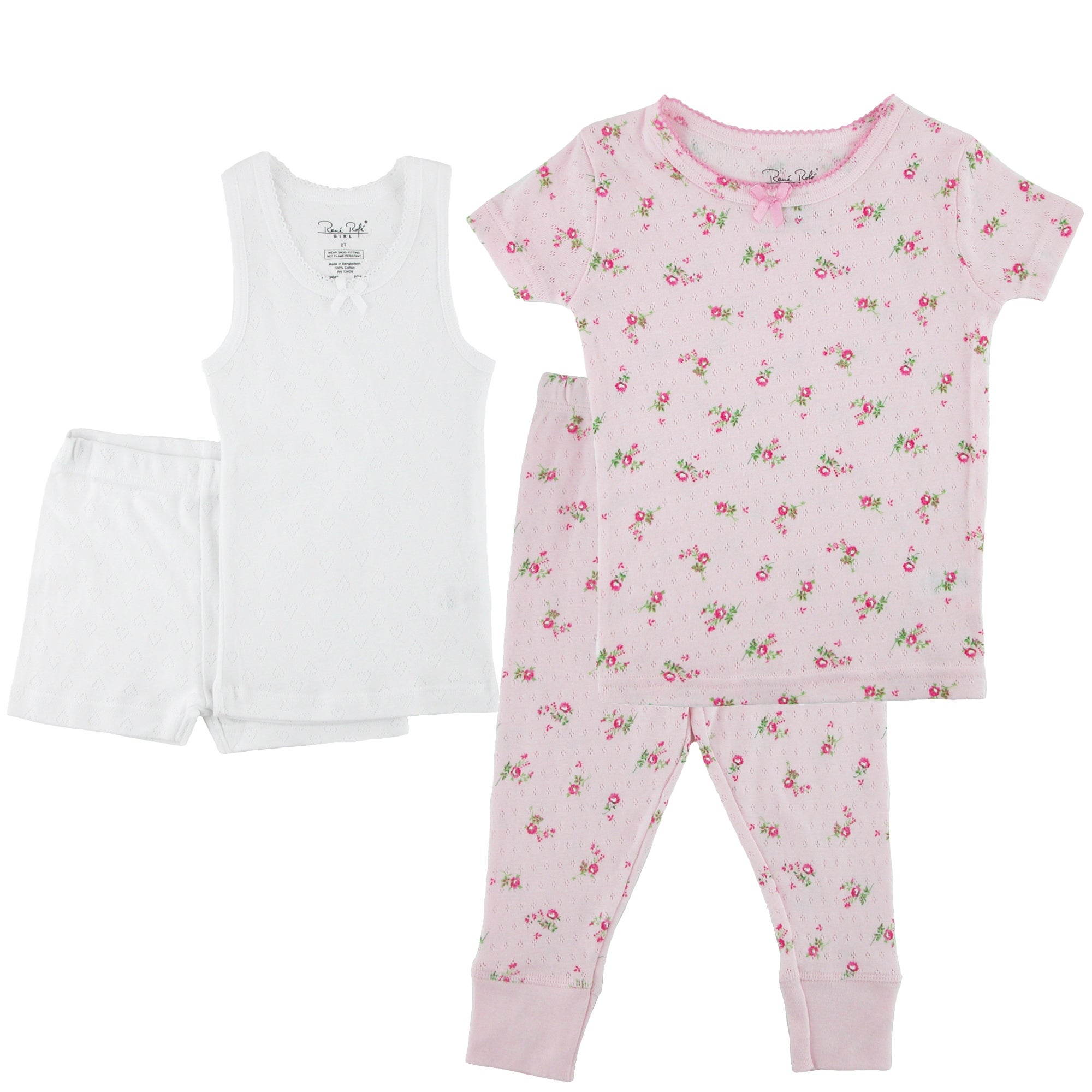 Rene Rofe Toddler Girls Tee Tank Short Pant Pajama Set Free