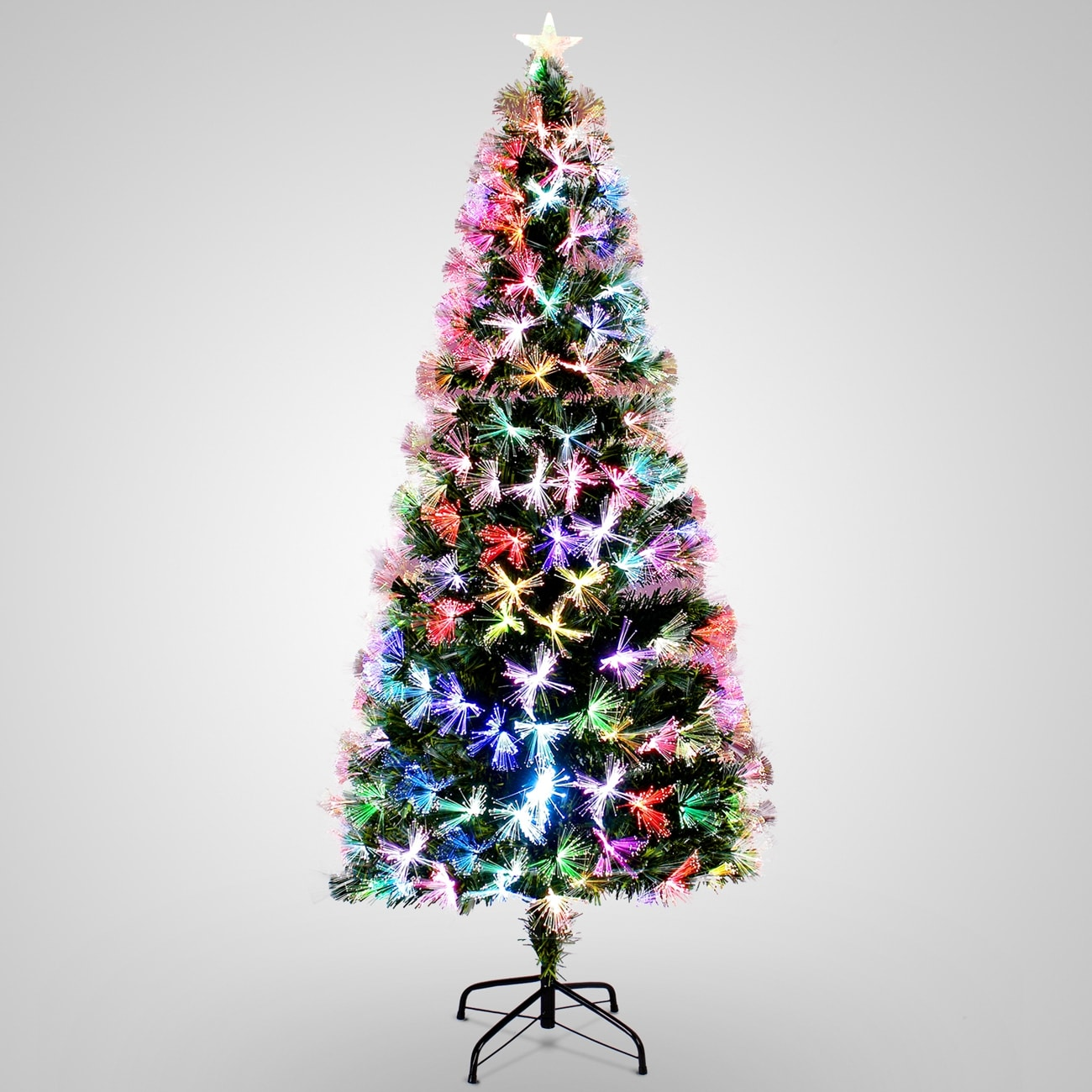 Belleze 7-feet Artificial Pre-Lit Fiber Optic Christmas Tree Color Light Snowflakes Top Star Decorations with Stand