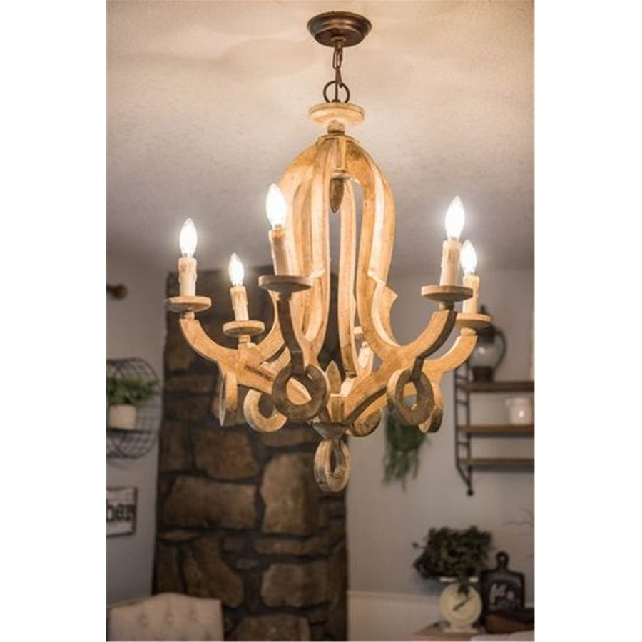 Shop farmhouse 6 light candle distressed wood chandelier free shipping today overstock com 19455029