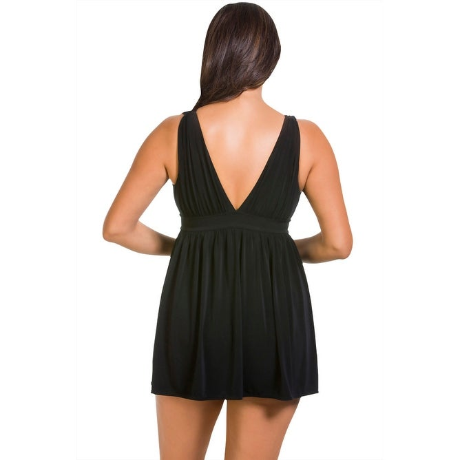 4d4cd55f012ac Shop Longitude Shirring Chic Goddess Swimdress - Black - Free Shipping  Today - Overstock - 17761657