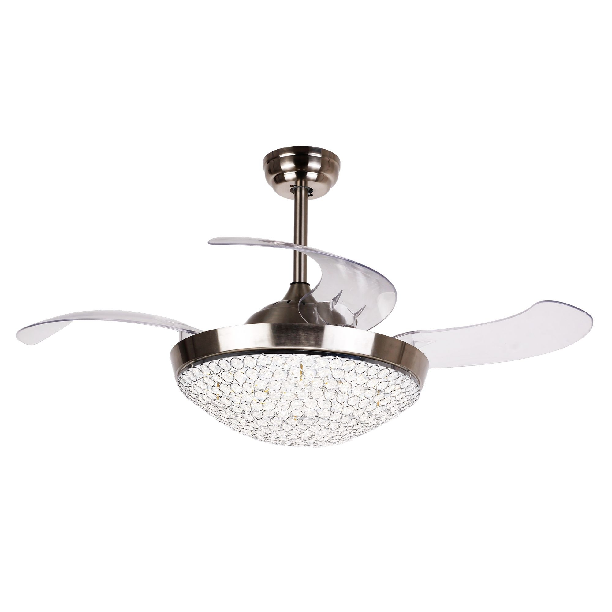 Shop Dimmable Restracable 4 Blades Crystal 42 Inch Led Ceiling Fan Wiring Black White Blue Free Shipping Today 18915960