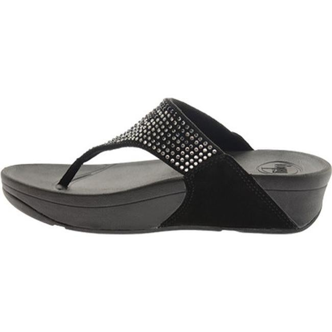 c5cbc8362ec2a Shop FitFlop Women s Flare Thong Wedge Sandal Black Suede Crystal - Free  Shipping Today - Overstock.com - 22973002