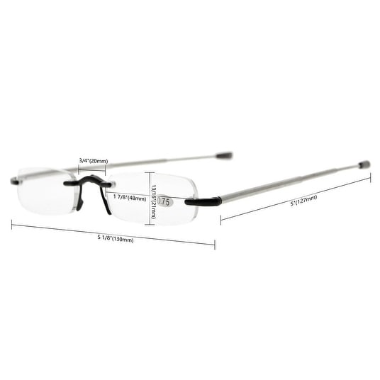afc327649aa Shop Eyekepper Compact Folding Rimless Reading Glasses Men Women With Soft  Pouch(Black