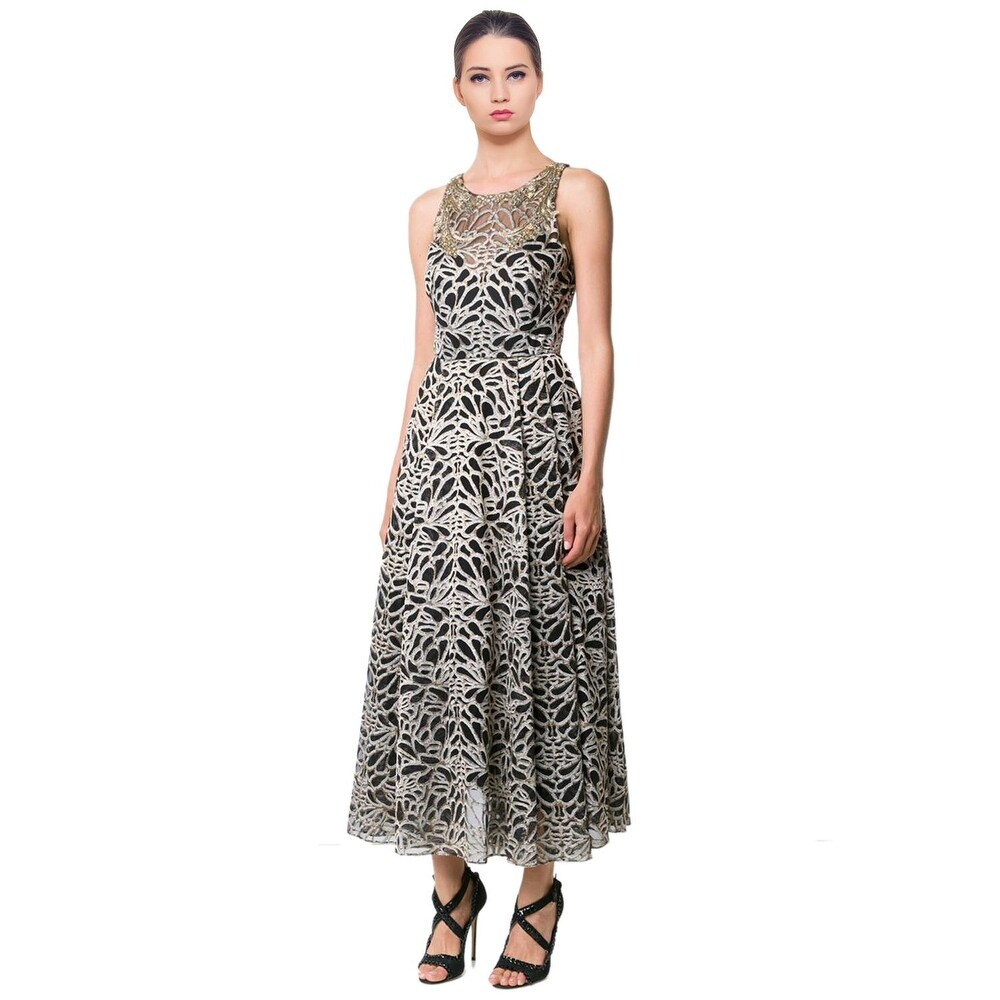Shop Marchesa Notte Metallic Embroidered Tulle Sleeveless Evening ...